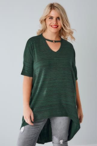 Dipped Hem Tops Green & Black Textured Choker Neck Ring Detail Top With Extreme Dipped Hem 170242