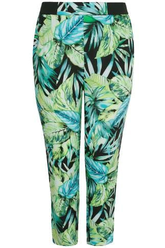 Green & Black Tropical Palm Print Harem Trousers