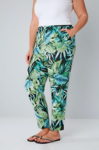 Harem Green & Black Tropical Palm Print Harem Trousers 142035