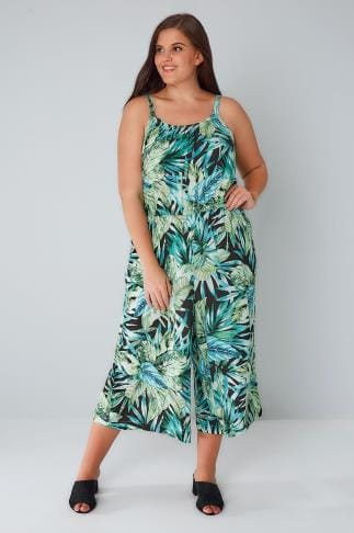 Jumpsuits Green & Black Tropical Palm Print Jumpsuit With Pockets 142034