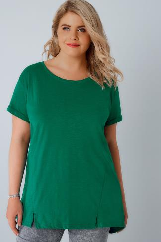 Jersey Tops Green Boyfriend T-Shirt With Front Split Detail 132083
