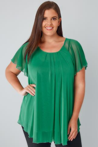 Green Double Layered Mesh Lightweight Blouse With Angel Sleeves 170174