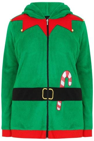 Polaires Green Elf Christmas Novelty Hooded Fleece With Gold Bells 126045