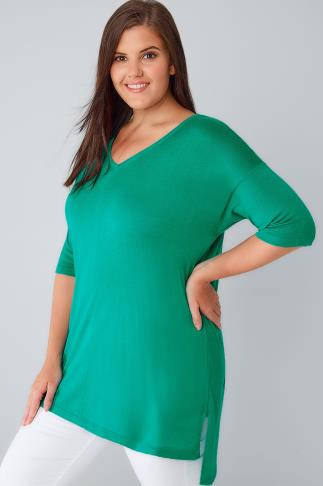 Green Fine Knit Jumper With Drop Shoulder Sleeves 124013