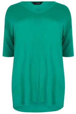 Green Fine Knit Jumper With Drop Shoulder Sleeves