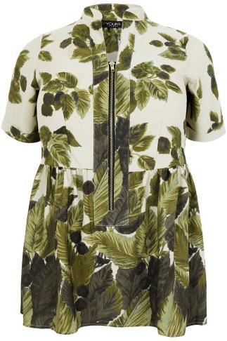 Green Leaf Print Longline Top With Ruched Waist & Zip Front