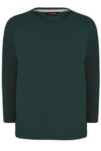 Green Long Sleeved V-Neck Jersey Top