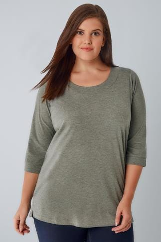 Day Tops Green Marl Band Scoop Neckline T-Shirt With 3/4 Sleeves 132306