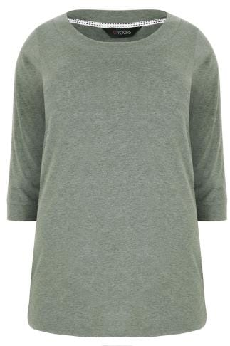 Green Marl Band Scoop Neckline T-Shirt With 3/4 Sleeves