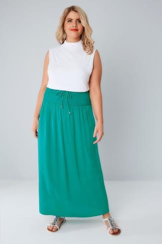 Green Maxi Skirt With Ruched Waistline 160032