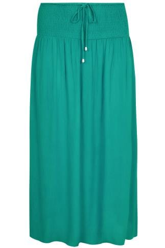 Green Maxi Skirt With Ruched Waistline