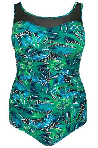 Green & Multi Jungle Print Swimsuit With Mesh Insert
