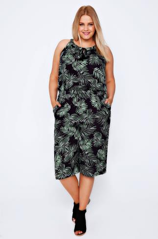 Green Palm Print Jumpsuit With Elasticated Waist