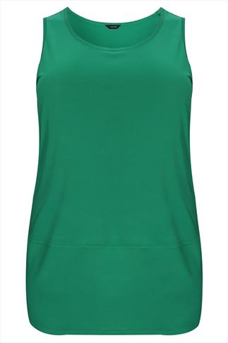 Green Sleeveless Top With Panel Detail