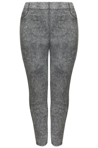 Grey Acid Wash Pull On Stretch Jeggings