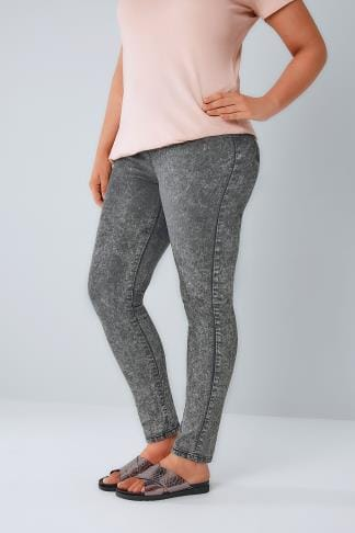 Jeggings Jeggings extensible à enfiler délavé à l'acide gris 142009