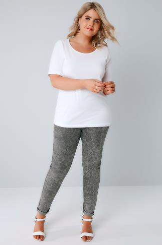 Grey Acid Wash Pull On Stretch Jeggings 142009