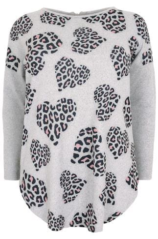 Grey Animal Heart Print Brushed Fine Knit Top With a Zip Up Back