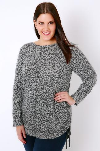 Knitted Tops Grey Animal Print Knitted Top With Ruched Sides 126002