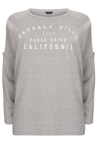 "Grey ""Beverley Hills"" Cold Shoulder Sweat Top With Curved Hem"