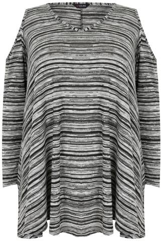 Grey & Black Cold Shoulder Asymmetric Top With Long Sleeves