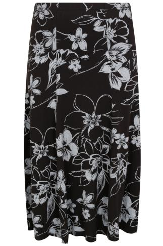 Grey & Black Floral Print Jersey Maxi Skirt With Panel Detail