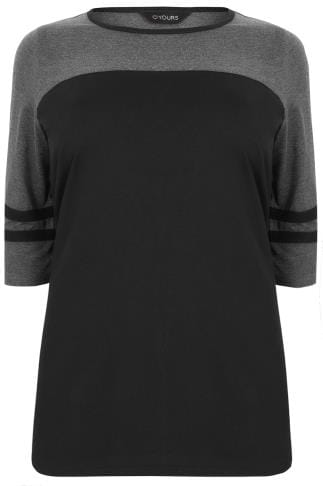 Grey & Black Jersey Colour Block Top With 3/4 Length Sleeves