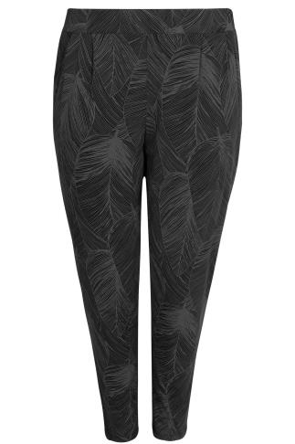 Grey & Black Leaf Print Harem Trousers