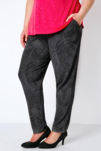 Harem Grey & Black Leaf Print Harem Trousers 103404