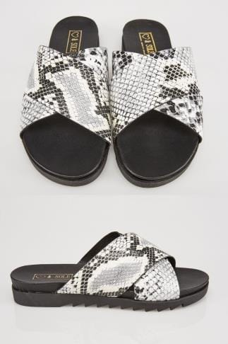 Wide Fit Sandals Grey & Black Snake Print Cross Over Strap Sliders In E Fit 057222