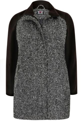 Grey & Black Tweed Herringbone Coat with High Neck Collar