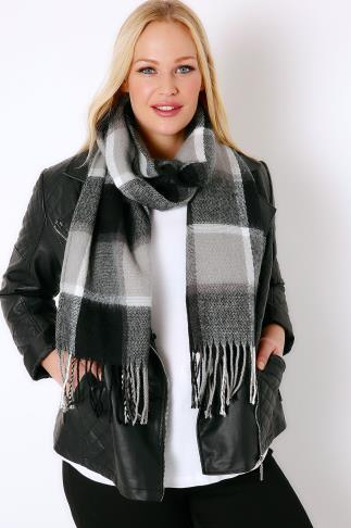 Grey, Black & White Checked Scarf With Tassels