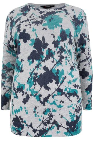 Grey & Blue Floral Smudge Print Longline Jumper