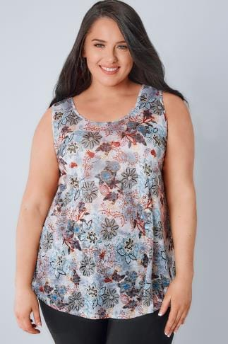 Jersey Tops Grey, Blue & Multi Floral Print Swing Vest 170213