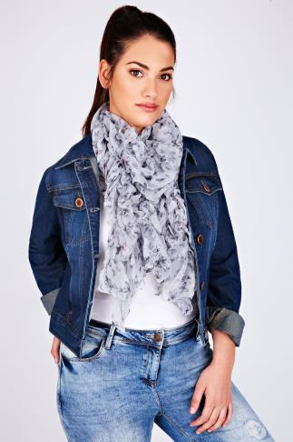Grey Butterfly Elasticated Ruffle Scarf 057255
