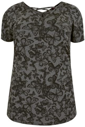 Grey Butterfly Print Top With Cross Over Straps