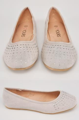 Grey COMFORT INSOLE Ballerina Pumps With Diamante Detail In TRUE EEE Fit