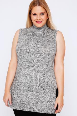 Grey Cable Knit Sleeveless Turtle Neck Tunic Jumper 101389