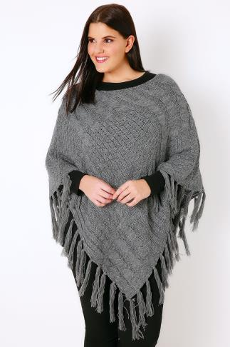 Grey Cable Knitted Poncho With Tassels