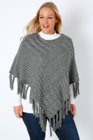Grey Cable Knitted Poncho With Tassels 102511
