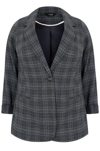 Grey Checked Fitted Blazer Jacket