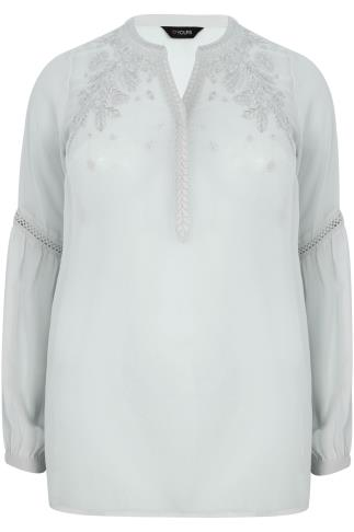 Grey Chiffon Embroidered Blouse With Crochet Detail Bell Sleeves