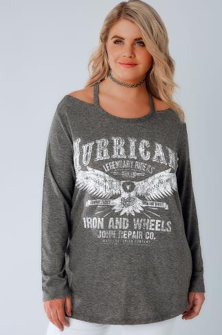 Grey Cold Shoulder Sweat Top With Hurricane Slogan 126020