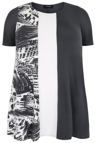 Grey Colour Block Longline Swing Top With Print Panel