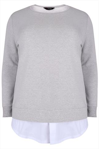 Grey Cotton Mix Sweat Top With White Shirt Layer