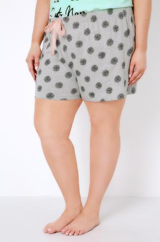 Pyjama Separates Grey Cross Hatch Spot Print Pyjama Shorts 148014