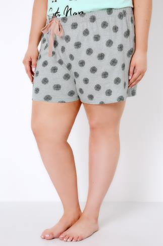 Grey Cross Hatch Spot Print Pyjama Shorts