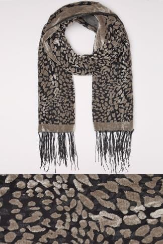 Grey Devore Animal Print Scarf With Fringed Trims