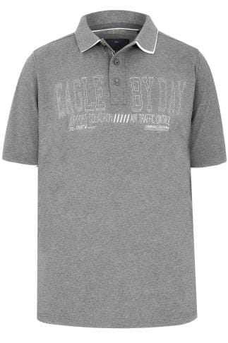 "Grey ""Eagle By Day"" Polo Shirt With Double Collar"