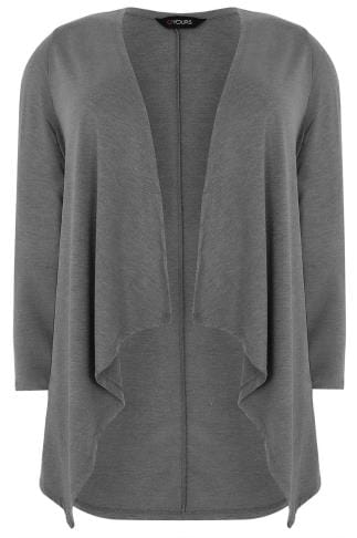 Grey Edge To Edge Waterfall Jersey Cardigan